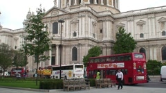 Buses Passing St Paul's Cathedral Stock Footage