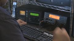 Ham operator adjusting equipment - HD1080 Stock Footage