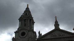 Top of St Paul's Cathedral Frontage Stock Footage