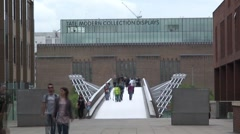 Stock Video Footage of Millennium Bridge and Tate Modern Gallery
