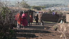 Massai village P5 Stock Footage