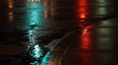 Rainy night. Traffic lights green, amber, red. Stock Footage