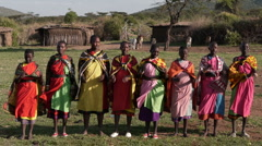 Massai women dance P2 Stock Footage