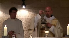 Christmas mass at the Benedictine Monastery, Tabgha, Israel Stock Footage