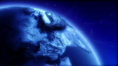 Blue Earth Globe Rotating, Detail - stock footage