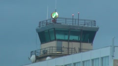 Puerto Rico - Airport Control Tower w beacon - Mild Fog in Cold Weather HD Stock Footage