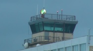 Stock Video Footage of Puerto Rico - Airport Control Tower w beacon - Mild Fog in Cold Weather HD