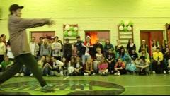Boy dancing hip-hop in 2x2 battle Stock Footage