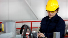 Man working in a factory Stock Footage