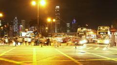 Hong Kong Traffic at Night Stock Footage