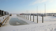 Ice in the harbour Stock Footage