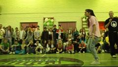 Girl in pink t-shirt dance hip-hop, 2x2 breakdance battle Stock Footage