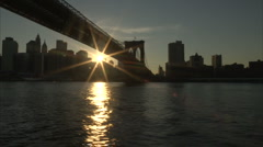 Brooklyn Bridge from river - stock footage
