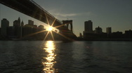 Brooklyn Bridge from river Stock Footage