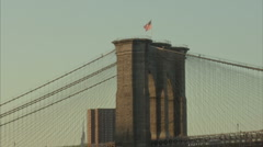 zoom out on brooklyn bridge - stock footage
