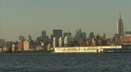 Sailbaot in front of NY skyline Stock Footage