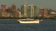 Sailboat with new york city background Stock Footage