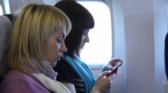 Women in the plane Stock Footage