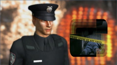 Police Officer at crime scene 1 Stock Footage