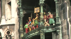 Munich Glockenspiel at Marienplatz Stock Footage