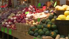 Food, baskets of veggies, vegetable market, zoom in  Stock Footage