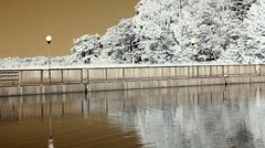 Infrared Finland: man jogging on a bridge 3 Stock Footage