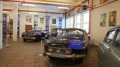 Retro cars in museum of film studio MOSFILM Stock Footage