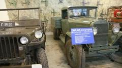 Retro cars within museum of film studio MOSFILM Stock Footage