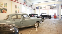 Museum of film studio MOSFILM with retro cars inside Stock Footage