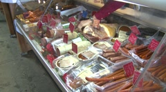 Food, a variety of deli meats, wide shot Stock Footage