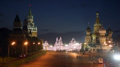 Basil the Blessed cathedral and Kremlin at night Stock Footage