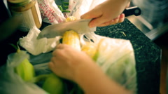 T304 shucking corn cob vegatables preperation cook cooking Stock Footage