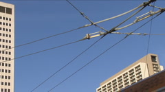Cable car wires in San Francisco Stock Footage