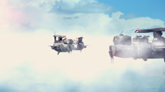 T304 airships clouds scifi futuristic UFO strange odd wtf weird Stock Footage