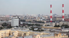 Panning of Moscow, river and International Business Center Stock Footage