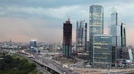 Moscow International Business Center (Moscow-City) at evening Stock Footage