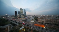 Moscow International Business Center and flag of Russia on foreground Stock Footage