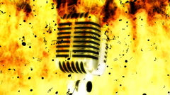 Burning Microphone Ash Notes Looping Animated Background Stock Footage