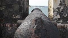 El Morro cannon facing San Juan Bay Stock Footage