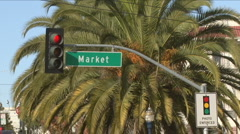 Market Street sign in San Francisco Stock Footage