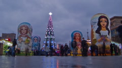 New Year on the biggest square in Europe 2 Stock Footage
