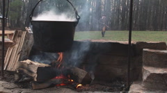 American Pioneer Cooking Stock Footage