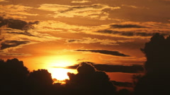 beautifull sunset behind clouds - stock footage