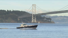 Treasure Island and Bay Bridge near San Francisco - stock footage