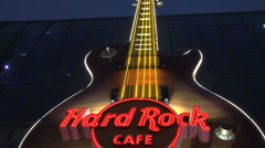 Hard rock cafe sign Las Vegas at night Stock Footage