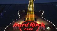 Hard rock cafe sign Las Vegas at night Stock Footage