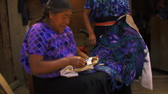 Mayan lady embroider1 Stock Footage
