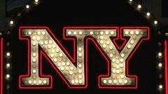 New York sign Las Vegas at night - stock footage