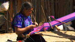 Mayan lady weeving6 Stock Footage
