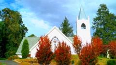 White wedding chapel autumn timelapse Stock Footage